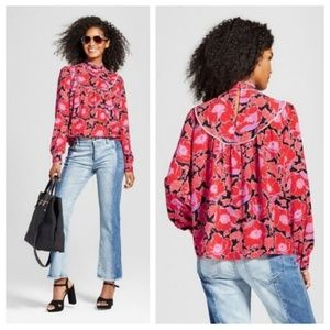 Who What Wear Red Floral Print High Neck Blouse